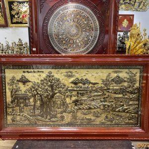 Tranh Cội Nguồn Quê Hương bằng đồng xước giả cổ 1m7 x 90cm