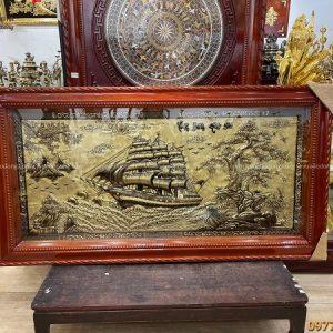 Tranh đồng Thuận Buồm Xuôi Gió 1m7x90cm xước giả cổ tinh xảo