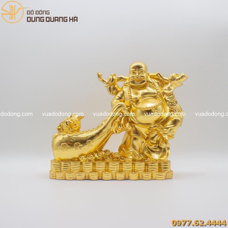 Tượng Di Lặc đẹp kéo túi tiền thếp vàng 9999