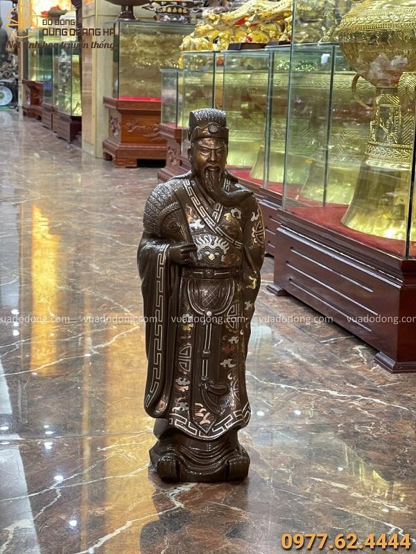 Tượng Khổng Minh bằng đồng cao 55cm khảm tam khí tinh xảo