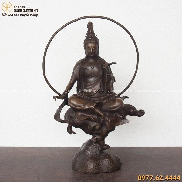 Tượng Phật Quan Âm Tự Tại bằng đồng vàng hun giả cổ cao 45cm