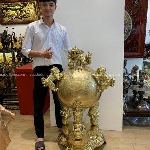 Đỉnh cầu thất lân bằng đồng vàng cattut cao 1m17 tinh xảo
