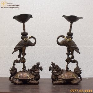 Đôi hạc thờ bằng đồng 48cm hun giả cổ chế tác thủ công tinh xảo