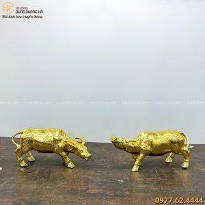 Đôi tượng trâu phong thủy thịnh vượng bằng đồng mạ vàng 24k