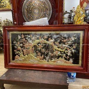 Tranh Hoa Khai Phú Quý khảm tam khí tinh xảo 1m7 x 90cm