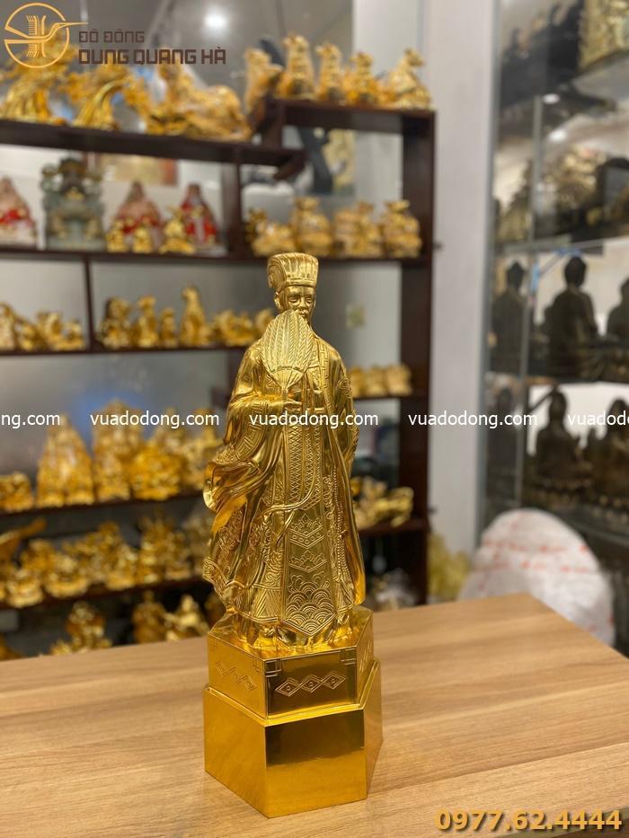 Tượng Gia Cát Lượng bằng đồng dát vàng 9999