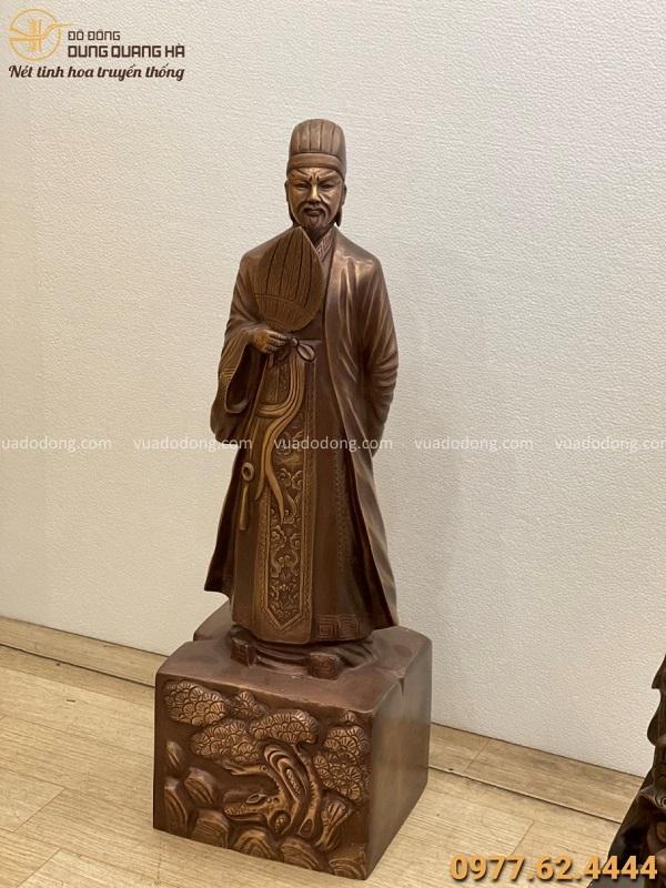 Tượng Khổng Minh bằng đồng đỏ cao 70cm hun giả cổ tinh xảo