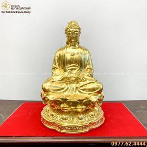 Tượng Phật A Di Đà ngồi thiền bằng đồng thếp vàng cao 25cm