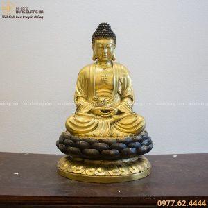 Tượng Phật Adida tọa đài sen bằng đồng vàng cao 60cm