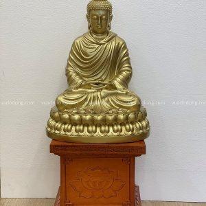 Tượng Phật Thích Ca đẹp tôn nghiêm bằng đồng vàng cao 48cm
