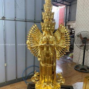 Tượng Phật Thiên Thủ Thiên Nhãn bằng đồng thếp vàng cao 90cm