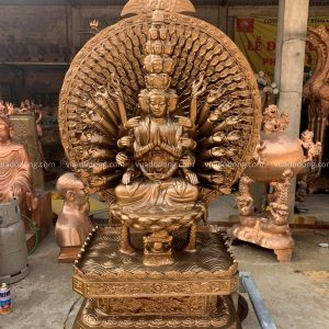 Tượng Phật Thiên Thủ Thiên Nhãn cổ kính bằng đồng cao 1m55