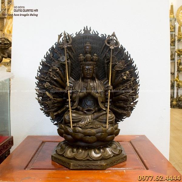 Tượng Quan Âm Thiên Thủ Thiên Nhãn 60x52cm đồng vàng hun