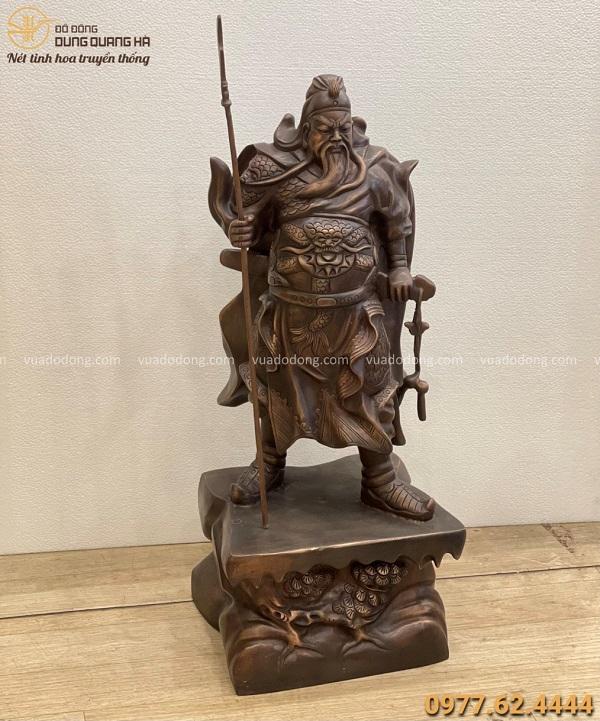 Tượng Quan Vân Trường phong thủy cao 70cm đồng đỏ hun giả cổ