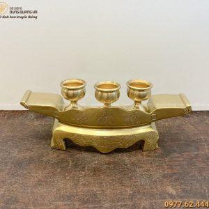 Bộ ngai 3 chén thờ độc đáo đẹp trang nghiêm bằng đồng catut