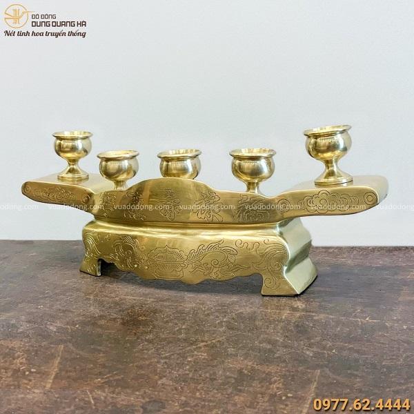 Bộ ngai 5 chén thờ bằng đồng catut hoa văn độc đáo tinh xảo