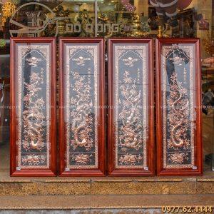 Bộ tranh tứ quý treo phòng khách bằng đồng đỏ nền đen độc đáo