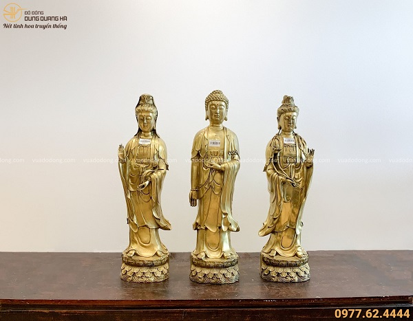 Bộ tượng Tam Thánh Phật bằng đồng vàng mộc đẹp tôn nghiêm