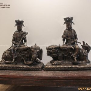 Bộ tượng Văn Thù và Phổ Hiền Bồ Tát 54x52cm đồng vàng hun nâu