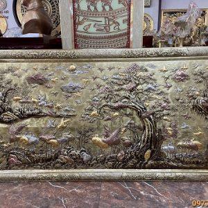 Tranh Bách Hạc Quần Tùng bằng đồng chạm tam khí 1m7 x 90cm