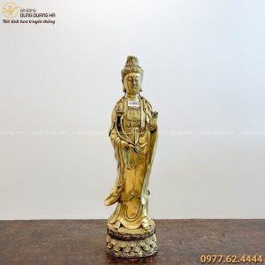 Tượng Đại Thế Chí Bồ Tát đẹp tinh xảo bằng đồng vàng 62x16cm
