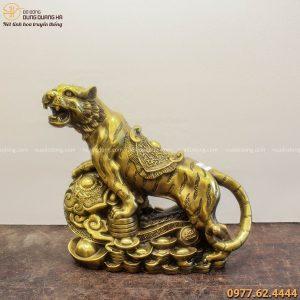 Tượng Hổ Như Ý tài lộc bằng đồng vàng chiều ngang 35cm