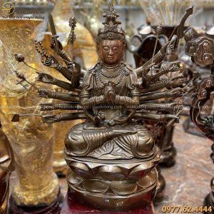 Tượng Phật Chuẩn Đề bằng đồng đỏ cao 81cm đẹp tôn nghiêm