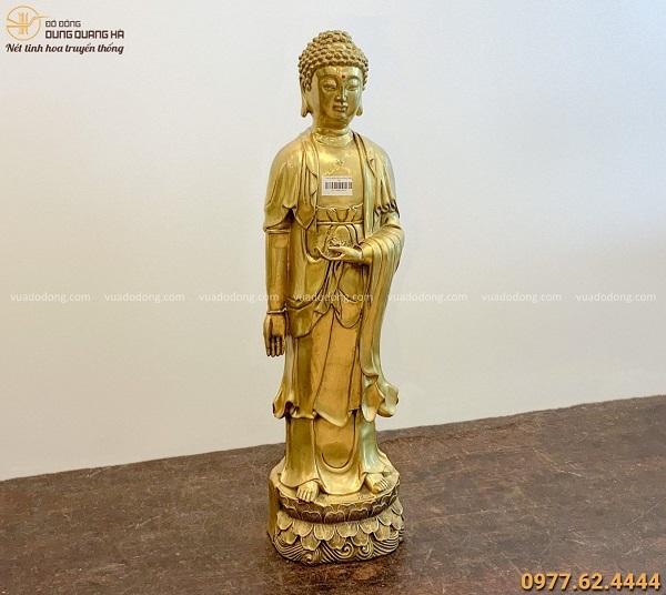 Tượng Phật Di Đà đẹp tôn nghiêm bằng đồng vàng 62x16cm