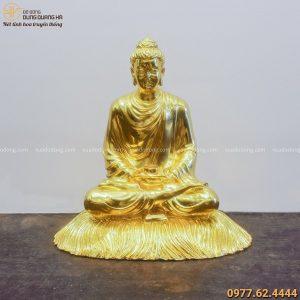 Tượng Phật Thích Ca ngồi thiền bằng đồng dát vàng tôn nghiêm