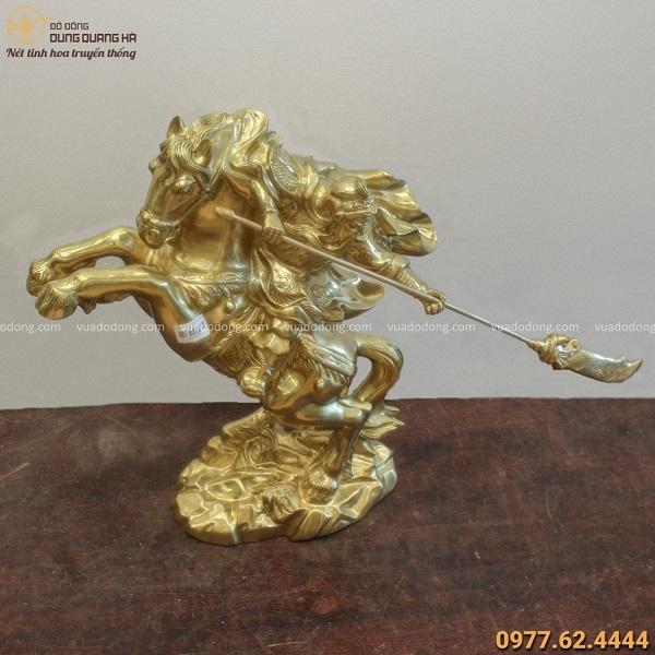 Tượng Quan Công bằng đồng catut cưỡi ngựa oai phong cao 50cm