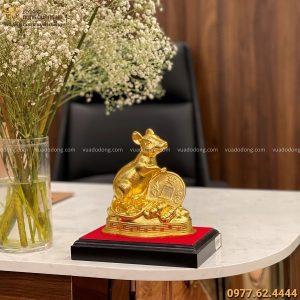 Tượng Chuột bằng đồng catut thếp vàng kích thước 17x16 cm