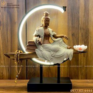 Tượng Đại Thế Chí Bồ Tát bằng gốm tử sa decor đốt trầm có đèn LED