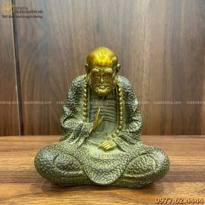 Tượng Đạt Ma bằng đồng vàng hun xanh cao 12cm tinh xảo