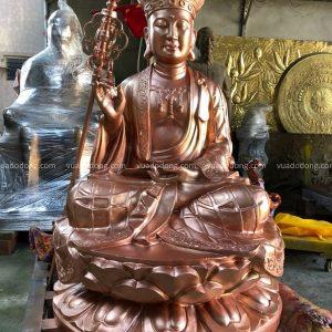 Tượng Địa Tạng Vương Bồ Tát tôn nghiêm bằng đồng đỏ cao 1m2