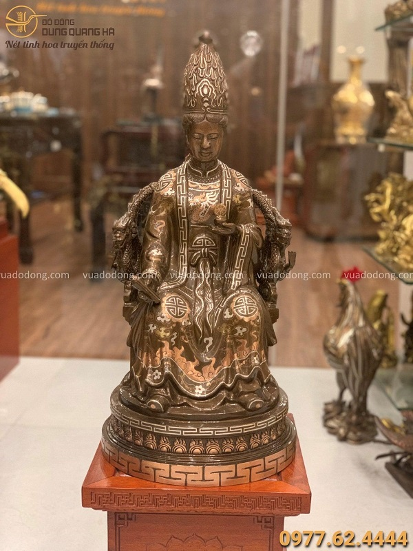 Tượng Mẫu Cửu Trùng Thiên bằng đồng đỏ khảm tam khí cao 60cm