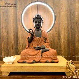 Tượng Phật Adida bằng gốm tử sa decor đốt trầm có đèn LED 45x35cm