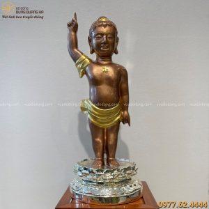 Tượng Phật Đản Sanh đẹp tinh xảo bằng đồng vàng cao 60 cm