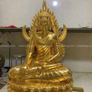 Tượng Phật Thái Lan cao 90cm bằng đồng đỏ thếp vàng 9999