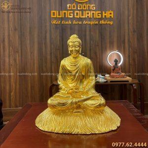 Tượng Phật Thích Ca ngồi rơm bằng đồng thếp vàng cao 30 cm