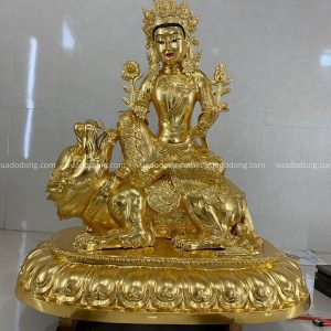 Tượng Phật Văn Thù Bồ Tát cưỡi sư tử thếp vàng 9999 cao 1m