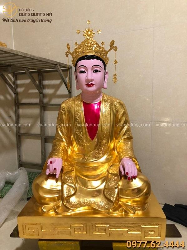 Tượng Thánh Mẫu Đệ Nhất bằng đồng đỏ thếp vàng 9999 cao 70cm