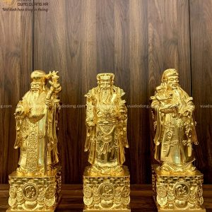 Bộ tượng 3 ông Phúc Lộc Thọ đẹp bằng đồng dát vàng 9999