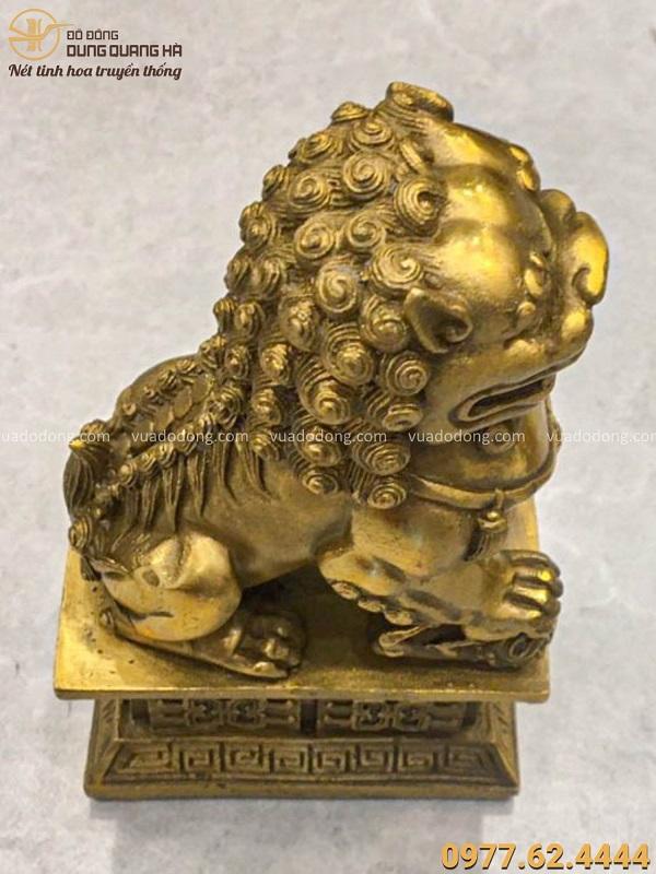 Tượng con Nghê phong thủy cao 17cm bằng đồng vàng độc đáo