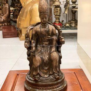 Tượng Mẫu Cửu Trùng Thiên bằng đồng đỏ cạo màu cao 30cm