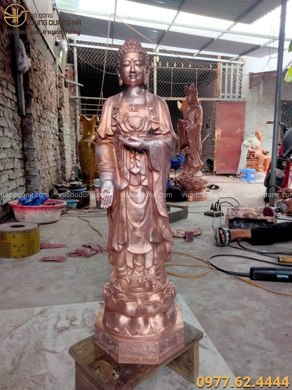 Tượng Phật Adida đứng đẹp tôn nghiêm bằng đồng đỏ cao 60cm