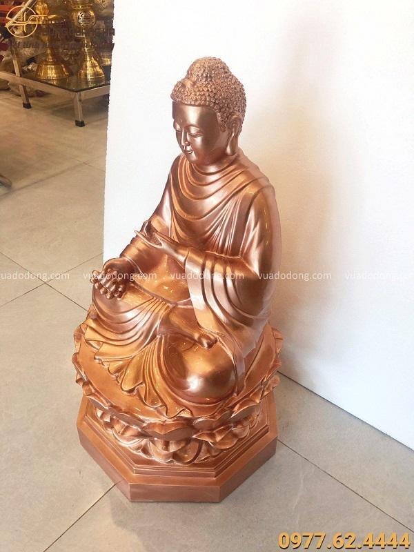 Tượng Phật Thích Ca đẹp tôn nghiêm bằng đồng đỏ mộc cao 66cm