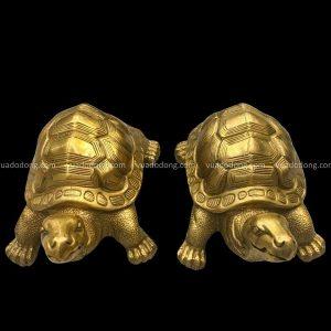 Tượng Rùa phong thủy bằng đồng vàng tinh xảo chiều ngang 15cm