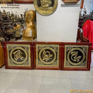 Bộ tranh chữ Phúc Lộc Thọ vuông 70 cm khung gỗ tinh xảo