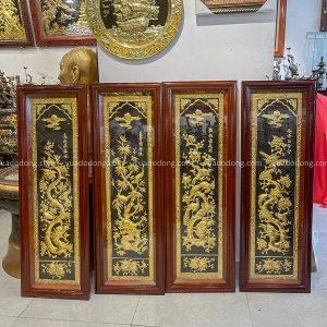 Bộ tranh Tứ Quý nền đồng dát vàng khung gỗ vuông 1m2 x 40cm