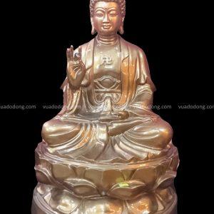 Bộ tượng Tam Thế Phật đẹp tôn nghiêm bằng đồng đỏ cao 61 cm